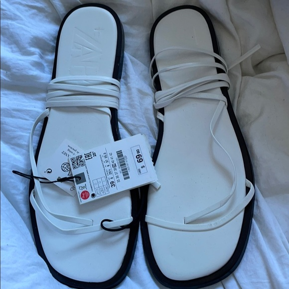 Tie Up white leather sandals
